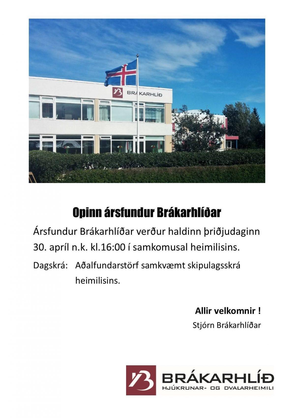 Ársfundur Brákarhlíðar verður haldinn þriðjudaginn 30.apríl n.k. kl.16:00 í samk...