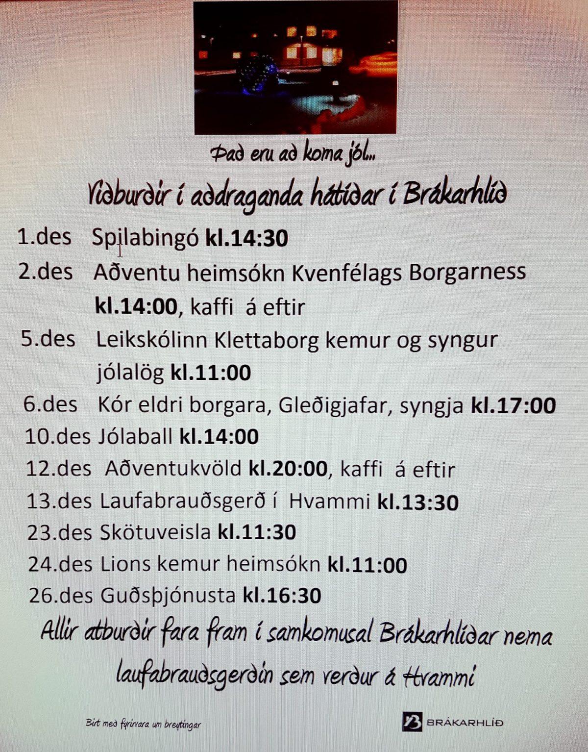 ......í aðdraganda jóla  aðstandendur velkomnir með sínu fólki á aðventukvöld, í...
