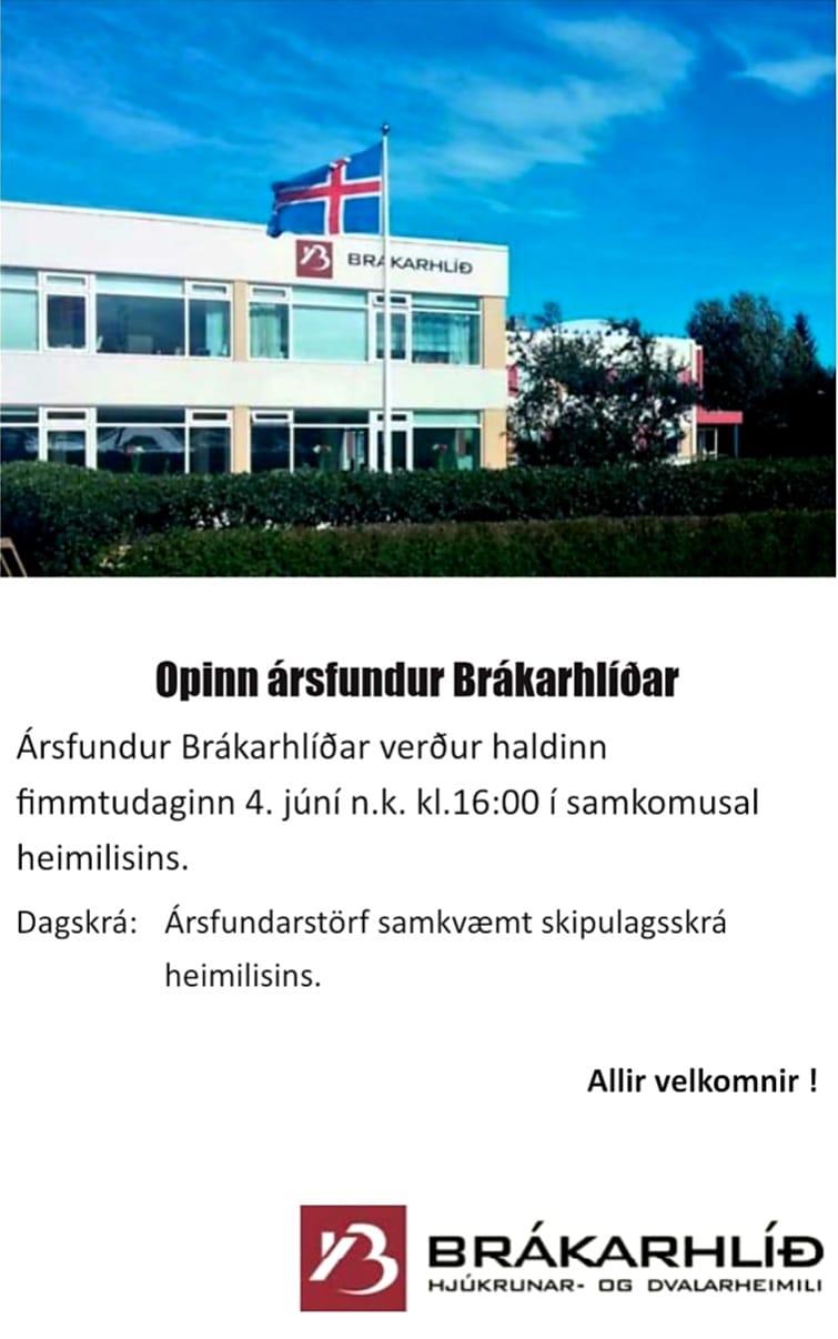 Ársfundur Brákarhlíðar n.k. fimmtudag kl.16:00.  Allir velkomnir !  Gengið inn u...